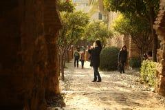 内部Alcazaba堡垒 库存照片