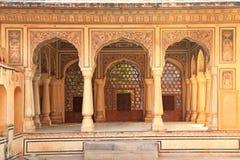 内部Hawa玛哈尔(风宫殿)在斋浦尔,拉贾斯坦,印度 图库摄影