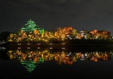 冈山城堡或乌鸦城堡在冈山,日本 免版税库存照片