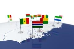 冈比亚旗子 图库摄影