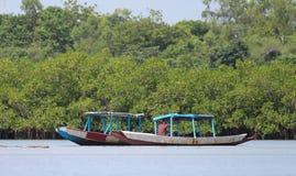 冈比亚河,小船 免版税库存照片
