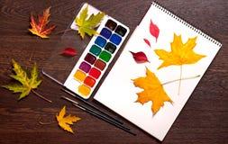 册页、水彩油漆、刷子和秋叶 库存照片