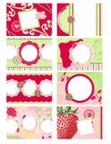 册页八微型页照片草莓主题 免版税库存照片