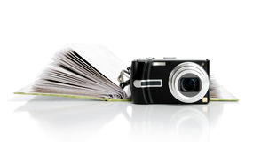 册页照相机数字式照片 免版税库存图片