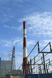 再一点以后移动次幂循环岗位蒸汽塔涡轮蒸气水浓缩的大锅coolled热 库存图片