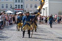 再制定:瑞典人Carolean战士从1700 图库摄影