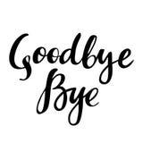 再见和再见:传染媒介被隔绝的例证 刷子书法,手字法 激动人心的印刷术海报 集合 库存图片