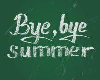 再见夏天,传染媒介在绿色委员会的白垩文本 免版税库存照片