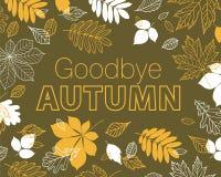 再见秋天海报 手拉的秋叶的秋天 免版税库存照片