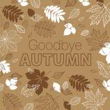 再见秋天海报 手拉的秋叶的秋天 免版税图库摄影