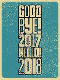 再见, 2017年 你好, 2018年 印刷葡萄酒难看的东西样式圣诞卡或海报设计 减速火箭的例证 库存照片