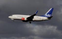 再飞行SAS斯堪的纳维亚的航空公司 库存图片