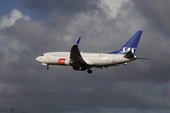 再飞行SAS斯堪的纳维亚的航空公司 库存照片