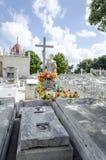 冒号公墓在2015年11月29日的Vedado在哈瓦那,古巴 库存照片