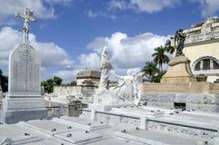 冒号公墓在2015年11月29日的Vedado在哈瓦那,古巴 库存图片