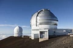 冒纳凯阿火山双子星座北部望远镜和加拿大法国夏威夷Telescpe 库存照片