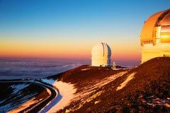 冒纳凯阿火山望远镜 库存图片