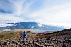 冒纳罗亚火山火山旅游赞赏的激动人心的景色在夏威夷,美国的大岛的 库存图片