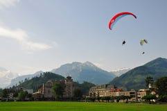 冒险和消遣体育在烟特勒根,瑞士 免版税图库摄影