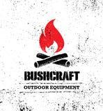 冒险山远足Bushcraft创造性的刺激标志集合概念 救生设备传染媒介室外设计 向量例证