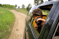 冒险摄影徒步旅行队 库存图片