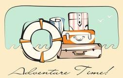 冒险时间减速火箭的卡片 旅行行李准备好旅行 库存图片