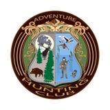 冒险狩猎俱乐部徽章在平的样式的传染媒介例证 库存图片