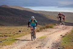 冒险自行车竞争山 图库摄影
