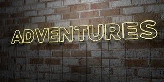 冒险-在石制品墙壁上的发光的霓虹灯广告- 3D回报了皇族自由储蓄例证 库存图片