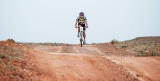 冒险登山车横越全国的马拉松 库存照片