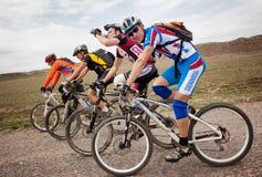 冒险登山车横越全国的马拉松 库存图片
