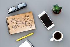 写一个经营计划 有剪影的办公室工作场所在深灰背景顶视图的笔记本 免版税库存照片