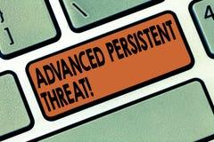写先进的持续威胁的手写文本 概念意思未被授权的用户对系统键盘能够存取 免版税库存图片