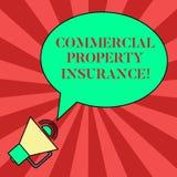 写商业财产保险的手写文本 概念意思提供防护反对多数风险空白 库存例证