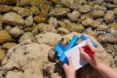写图片明信片 免版税图库摄影