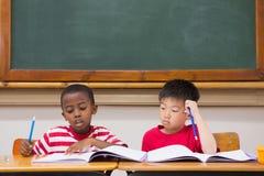 写在书桌的逗人喜爱的学生在教室 免版税库存图片