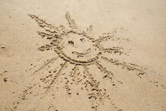 写在沙子在海滩 免版税库存图片