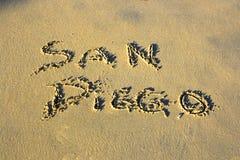 写在沙子 免版税库存图片