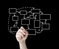 写处理流程图图的商人  免版税图库摄影
