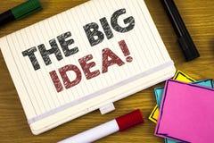 写大想法诱导电话的手写文本 概念意思有一个成功的想法聪明认为 免版税库存图片