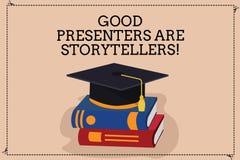 写好赠送者的手写文本是讲故事者 概念意思伟大的通信装置告诉优秀故事颜色 皇族释放例证