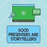 写好赠送者的手写文本是讲故事者 概念意思伟大的通信装置讲优秀故事压片录影 皇族释放例证