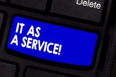 写它的手写文本作为服务 意味信息技术的概念给服务企业键盘 免版税图库摄影