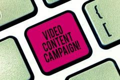 写录影美满的竞选的手写文本 概念意思集成允诺的录影市场活动 库存照片