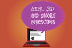写文本地方Seo和流动行销的词 搜索引擎优化数字促进证明的企业概念 免版税库存照片