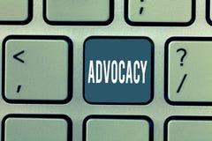 写文本拥护的词 法律提倡者律师工作公开推荐行业的企业概念  免版税库存图片