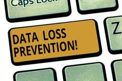 写文本数据预防损失的措施的词 查出潜在的数据的软件的企业概念破坏键盘键 库存例证