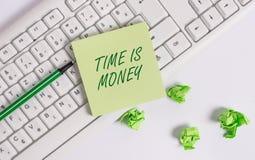 写文本时间的词是金钱 时间的企业概念是一种可贵的资源尽快做事 免版税图库摄影