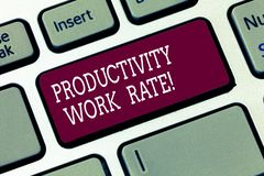 写文本生产力生产率的词 对小组或工作者的效率的评估的企业概念 图库摄影