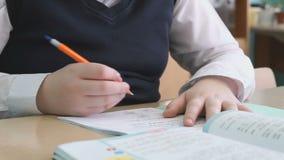 写文本的男孩在习字簿 影视素材